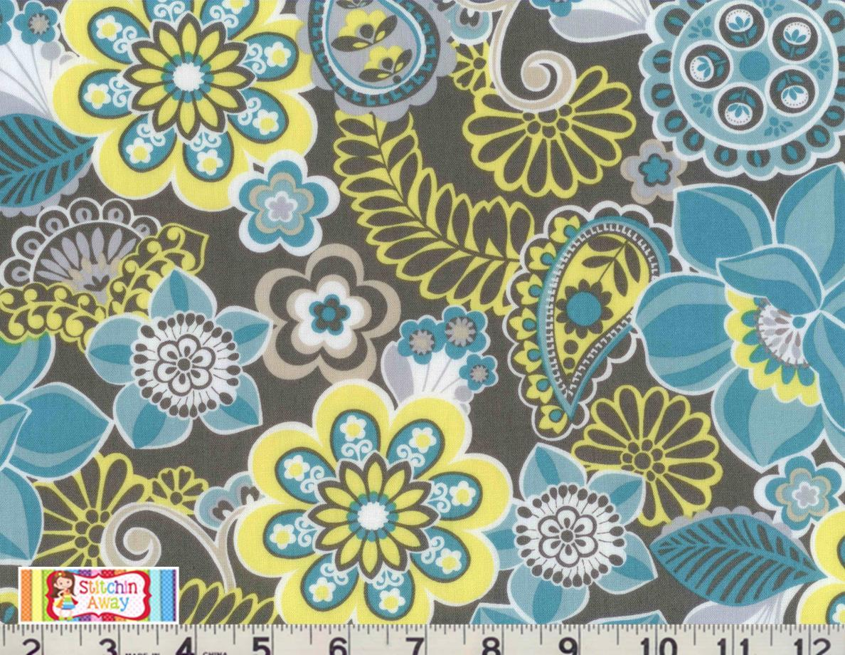 turquoise twist fabric for quilting 100 cotton floral leaves yellow gray ebay. Black Bedroom Furniture Sets. Home Design Ideas