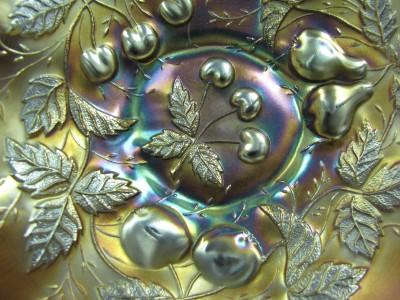 Northwood Amethyst Three Fruits Carnival Glass Bowl