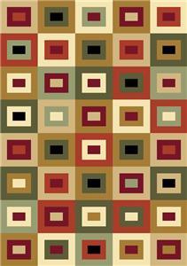 Green Orange 8x10 Contemporary Geometric Area Rug Carpet 661