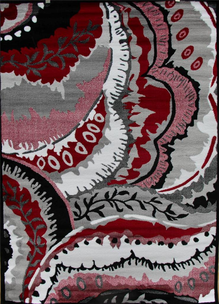 1804 black red gray modern abstract area rug contemporary carpet 2x3 5x7 8x11 ebay. Black Bedroom Furniture Sets. Home Design Ideas