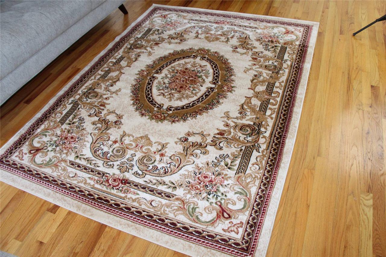 2917 ivory burgundy green oriental floral area rug turkish. Black Bedroom Furniture Sets. Home Design Ideas