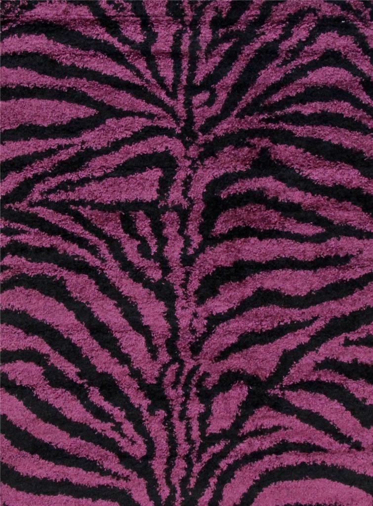 Shaggy Shag Zebra Red Turquoise White Gray 5x7 Area Rug