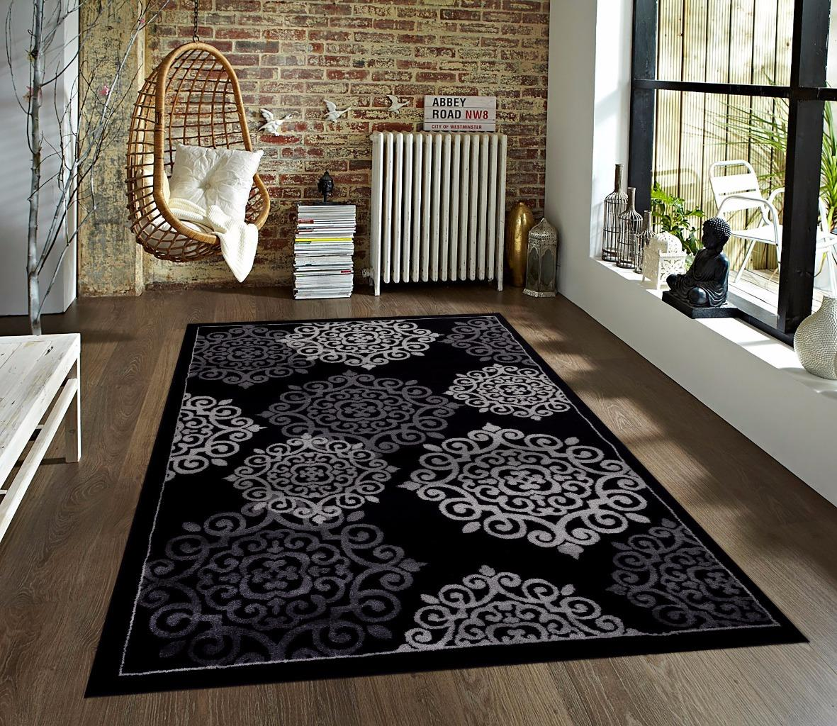 776 Black Gray Turquoise Modern Area Rug New Carpet 2x3