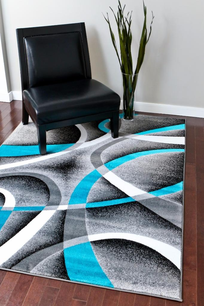 2305 Turquoise Gray Black 5x7 8x11 Area Rug Modern