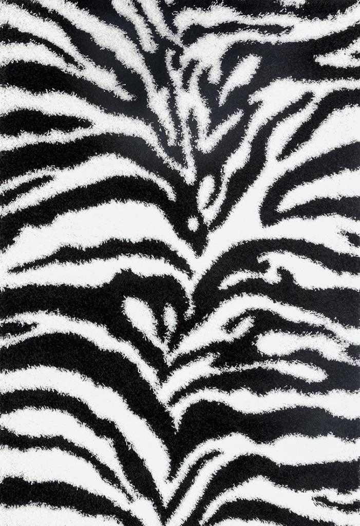 Zebra White Black Luxury Shag Area Rug Modern Contemporary