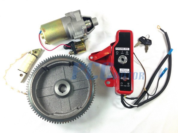 685130447_o honda gx160 gx200 electric start kit starter motor flywheel switch