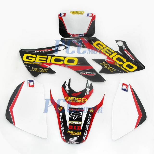 geico graphics decal plastics kit honda crf50 crf 50 f 2004 2014 sdg ssr h de65 ebay. Black Bedroom Furniture Sets. Home Design Ideas
