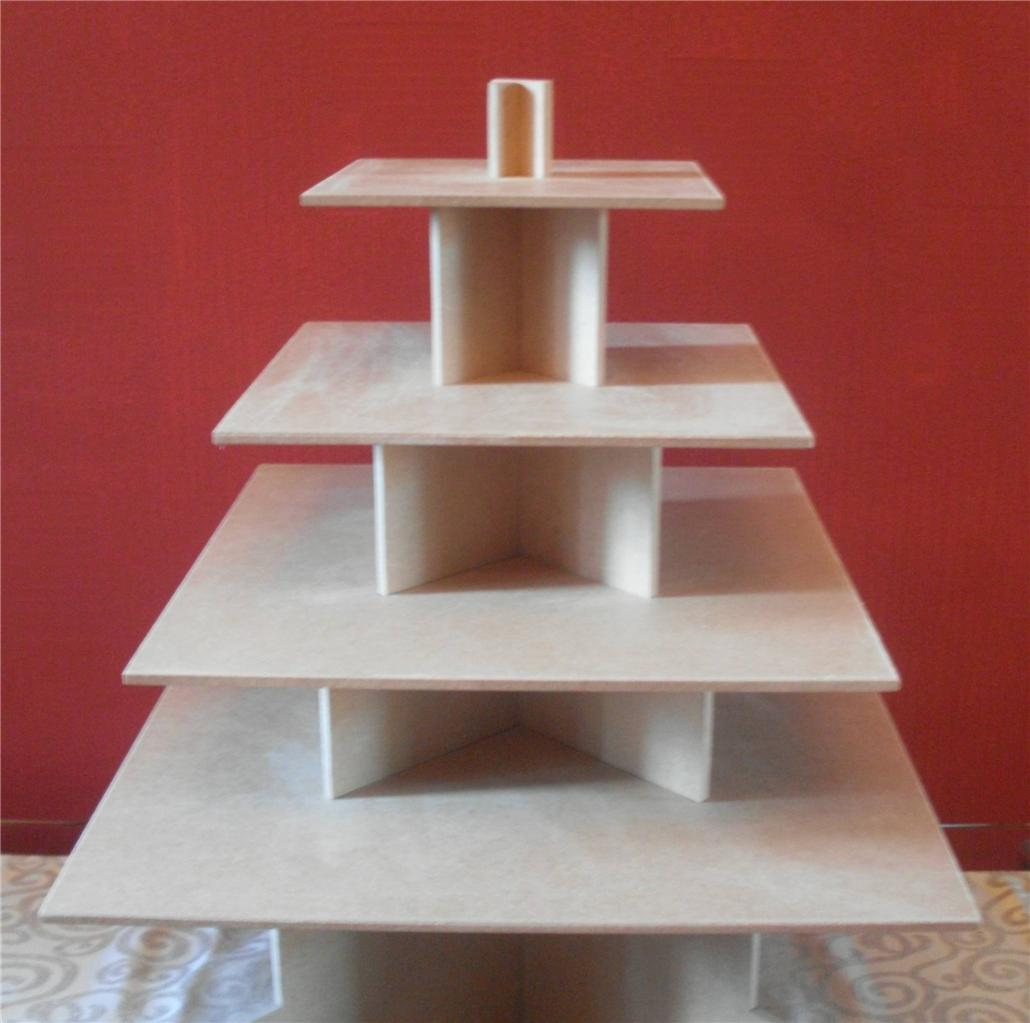 4 TIER SQUARE CUPCAKE PARTY WEDDING CAKE BUFFET STAND