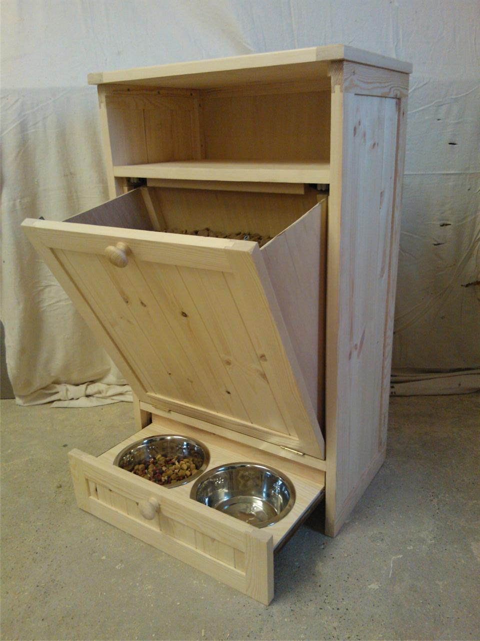 Pet Food Cabinet Storage Organizer Dog / Cat Feeding Station Unit