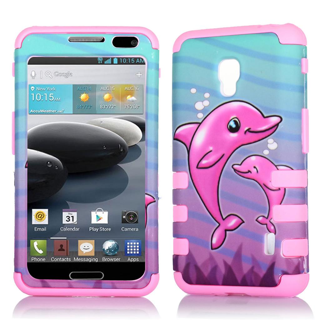 Phone Case For Metro PCS LG Optimus F6 Tri-Layered Patterns Rib Cover ...