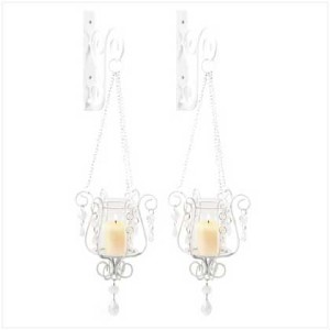 Shabby French Chic hanging wall sconce candle holders 2 eBay