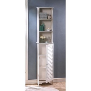 shabby cottage chic white bathroom tall storage cabinet louvered