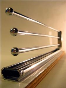 Vintage chrome steel kitchen cabinet slide out towel rack undermount