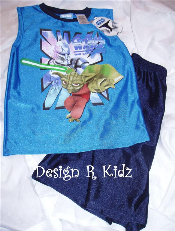 STAR WARS CLONE WARS YODA BOYS sz 8 2pc SHORT SET NWT