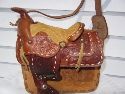 Vintage Leather Saddle Bags on Vintage Tooled   Stitched Leather Country Western Horse Saddle Bag