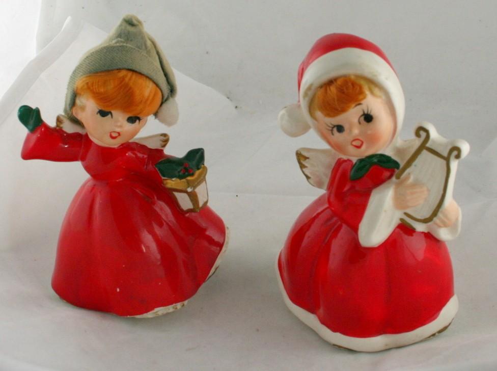 vintage figurine, angel, Norcrest,ceramic,harp,lantern