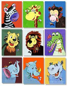 Set of 9 New  Prints on Canvas Jungle Animals Art
