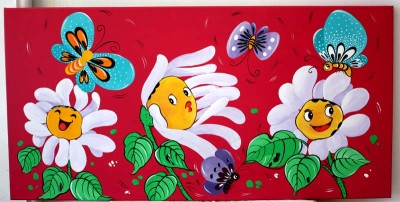 XL New Canvas Painting Flower Butterflies Art 30cmx60cm