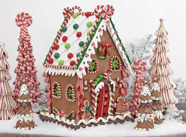 Gingerbread house clay dough christmas ornaments set of 2 for Cute christmas decorations