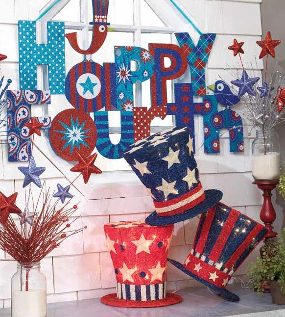 fourth of July Decorations, Lighted Uncle Sam Top Hats, July Fourth Sign