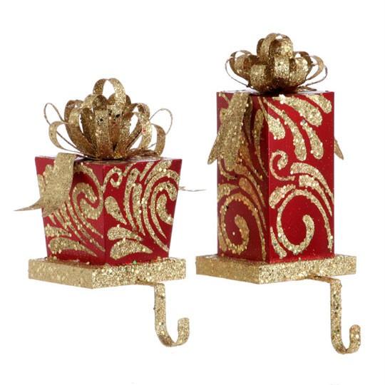 stocking holder set 2 red gold present shape pd 3138078. Black Bedroom Furniture Sets. Home Design Ideas