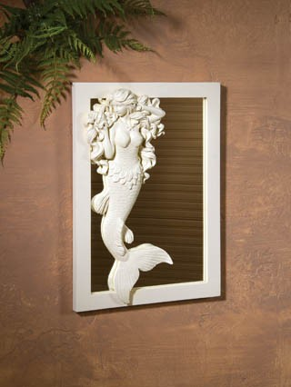 Mermaid w flowing hair wall art white plaque beach cottage decor oh36942 new ebay Shelley b home decor