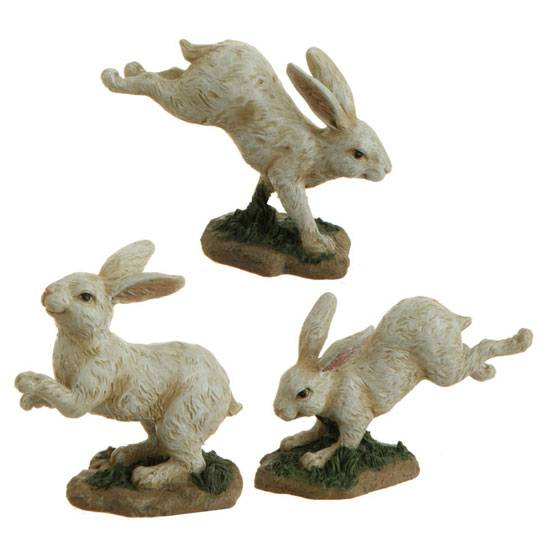 Mother and baby rabbit figure white resin 3411097 raz for Rabbit decorations home