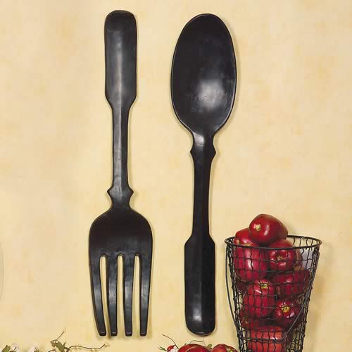 Shelley B Decor And More Large Black Spoon And Fork Wall Art