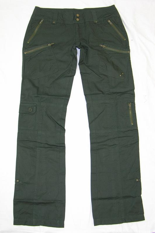 Simple Womens Khaki Green Lightweight Combat Trousers Cargo Jeans Loose Wide