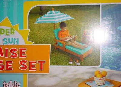 Patio Furniture Sets  Umbrella on Lounge Set Solid Wood Chair  Table  Umbrella Patio Furniture   Ebay