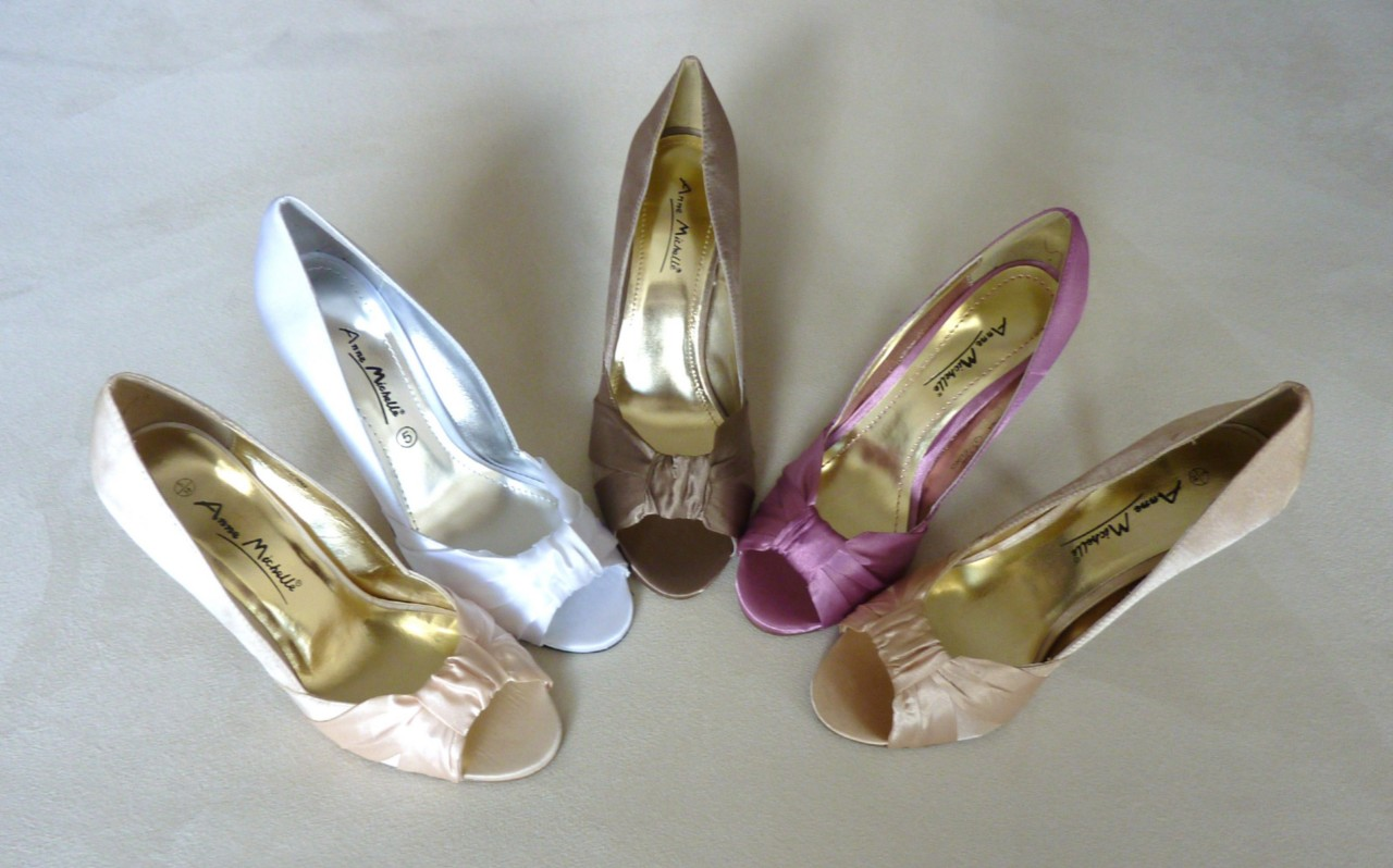 PEEP TOE BRIDAL WEDDING EVENING SHOES WHITE PINK CHAMPAGNE GOLD TAUPE