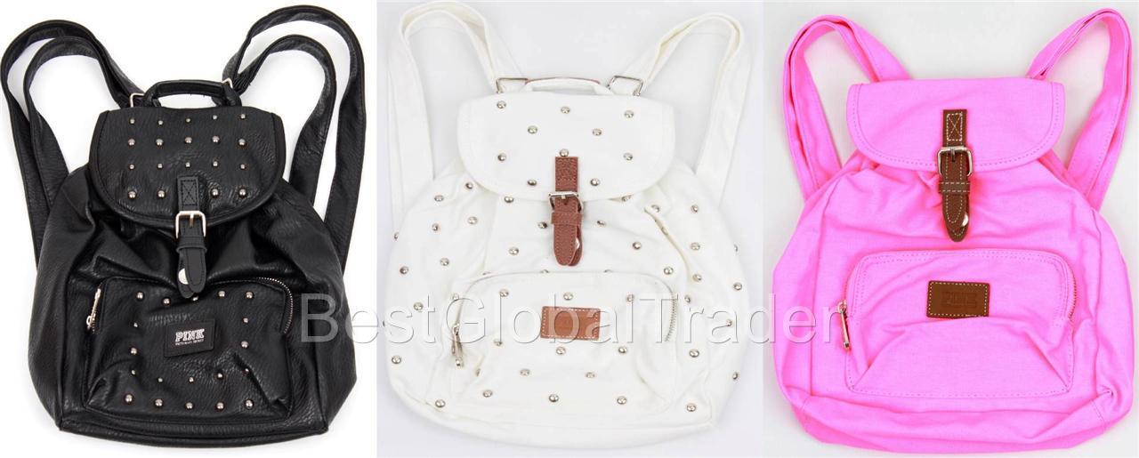 Victoria's Secret Pink Mini Backpack Purse Tote White Studs Leather ...