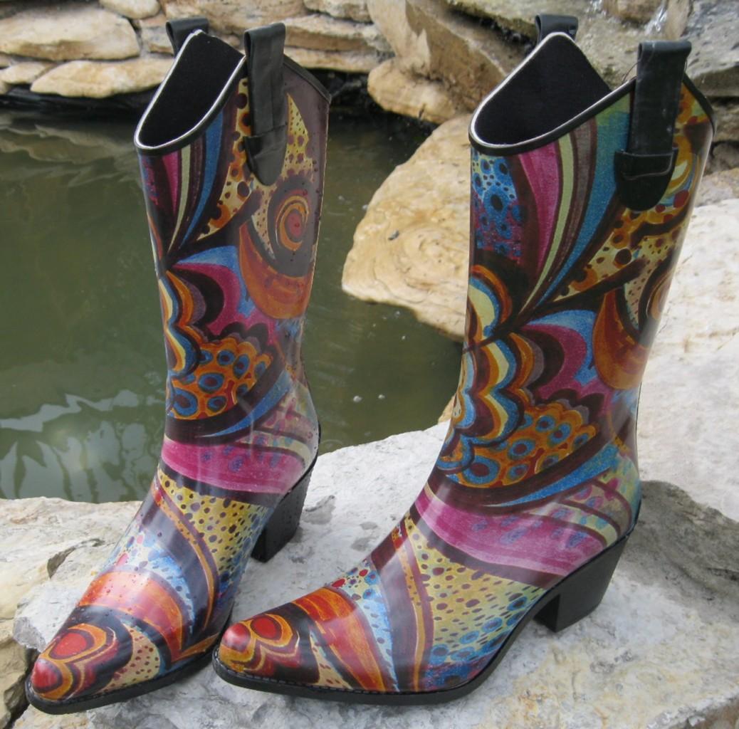 Womens-Western-Cowboy-Multi-Swirl-Pattern-Rain-Boots-13-From-Corkys-Choose-Size