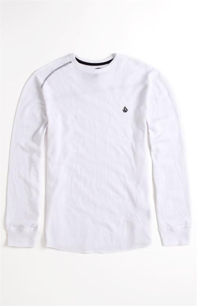 Volcom stone basic mens white thermal shirt t shirt new ebay for White thermal t shirt