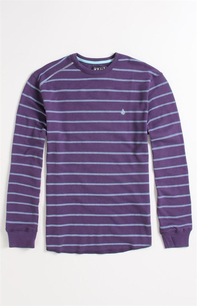 Volcom stone kwort stripe mens purple blue striped thermal for Purple and black striped t shirt