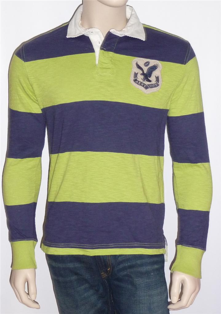 American eagle outfitters blue lime long sleeve rugby for Long sleeve striped rugby shirt