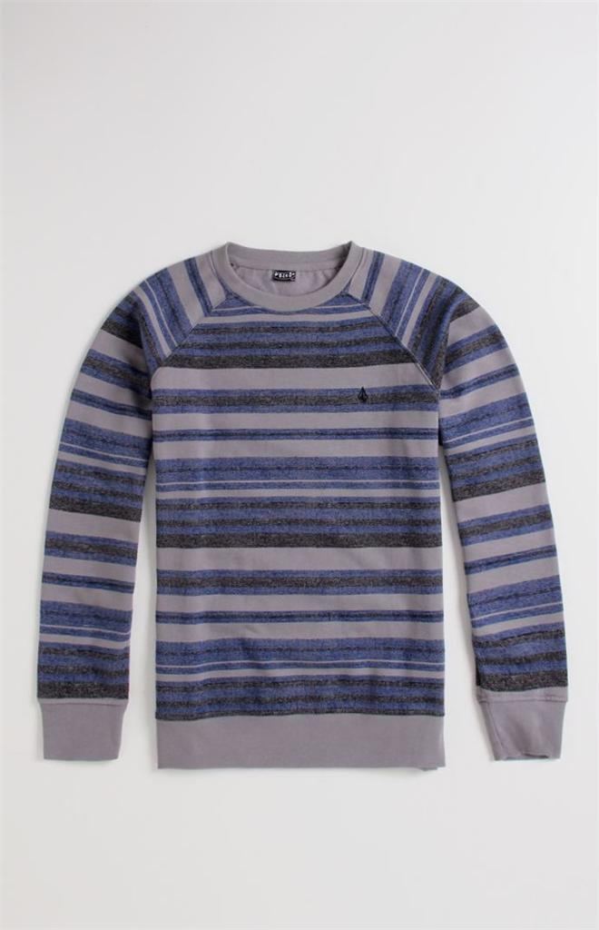 Volcom-Stone-Dice-Mens-Gray-Blue-Stripe-Crew-Fleece-Sweatshirt-Sweater