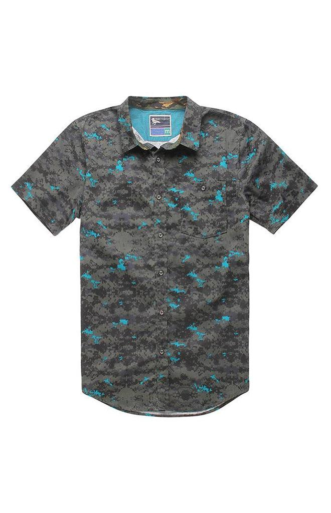 Modern Amusement Digital Camo Woven Short Sleeve Button Up