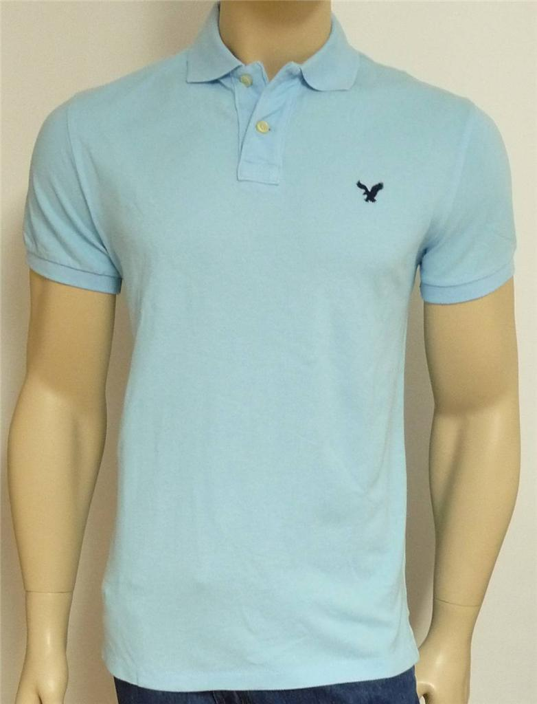 American eagle outfitters aeo mens pale blue athletic fit for Men s athletic polo shirts