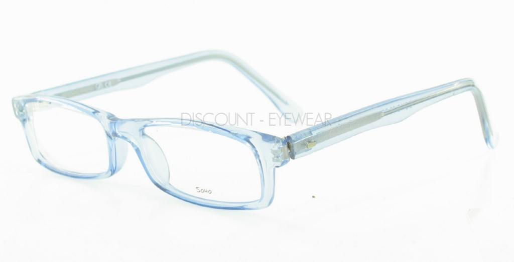 Mens Clear Plastic Eyeglass Frames : SOHO 56 Hip Rectangular Clear Blue Funky Mens Womens ...