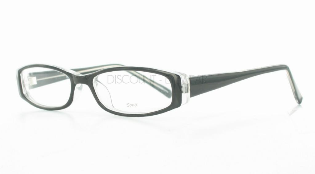 Soho 83 Art Deco Modern Eyeglass Frames Black Clear Mens or Womens Hip