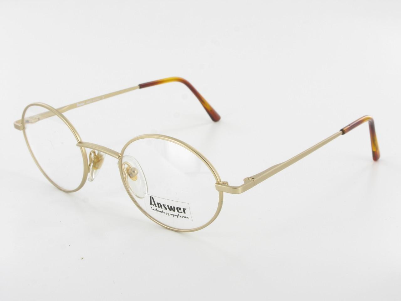 Gold Metal Eyeglass Frames : Mens Womens Metal Round EYEGLASS FRAMES Satin Gold Classic ...