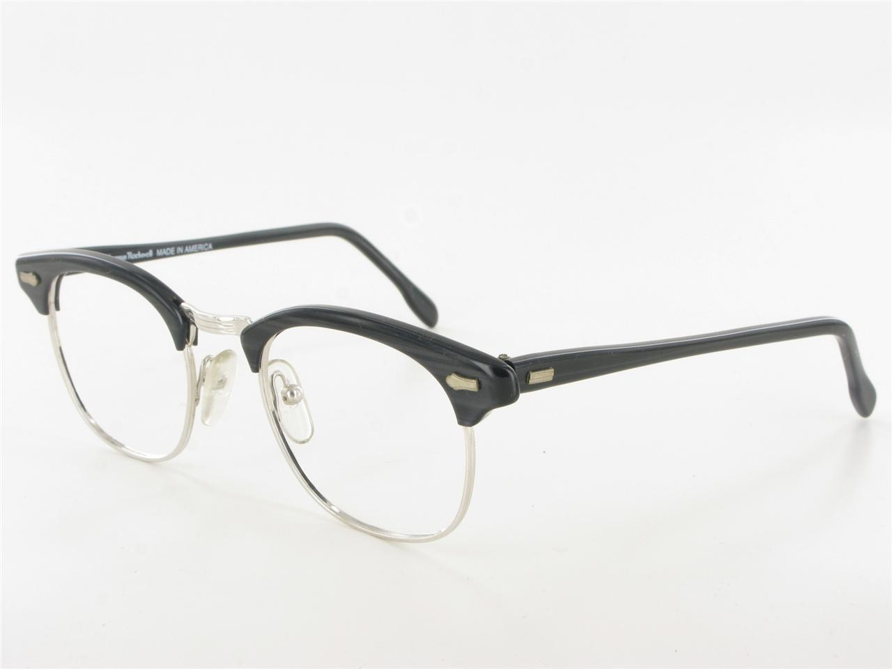 Are Plastic Eyeglass Frames In Style : NORMAN ROCKWELL Black Silver Clubman Style Eyeglass Frames ...