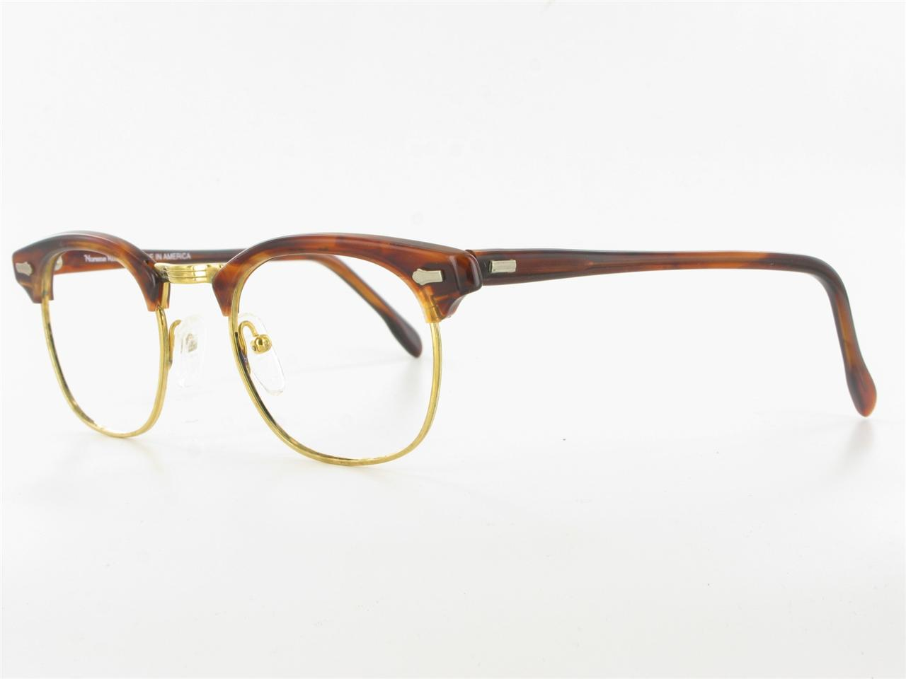 NORMAN ROCKWELL Brown Tortoise Gold Clubman Eyeglass ...