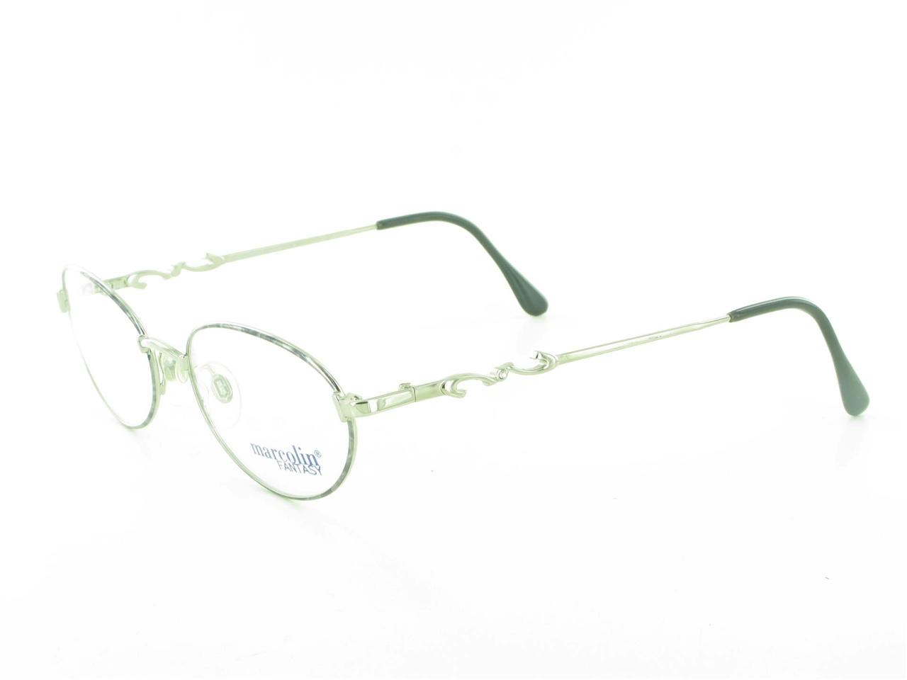Ladies Eyeglass Frames Rhinestones : Womens Marcolin Round Oval Silver Gray Metal EYEGLASS ...