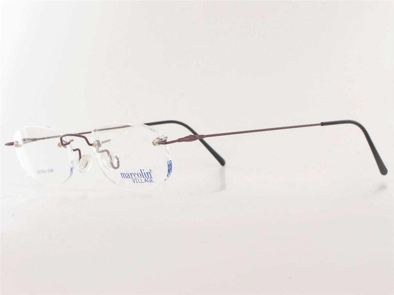 Marcolin Rimless Metal Eyeglass Frame Burgundy Mens Womens ...