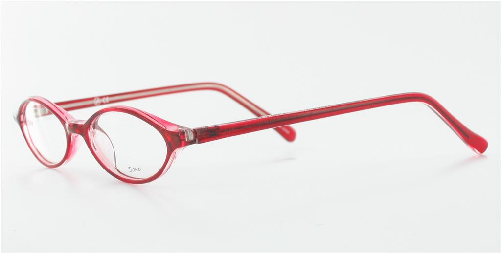 Eyeglass Frames For An Oval Face : SOHO EYEWEAR 65 Red / Clear Plastic Eyeglasses Small Faces ...