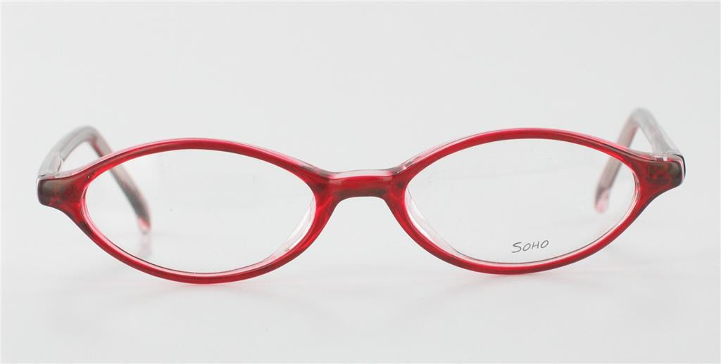 Glasses Frames For Small Faces : SOHO EYEWEAR 65 Red / Clear Plastic Eyeglasses Small Faces ...