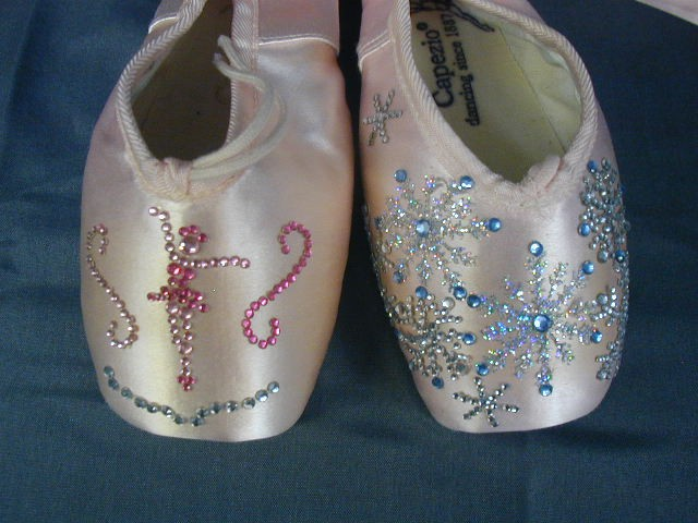 Cappezio pointe shoes ballet slippers decorative blinged for Ballet shoes decoration