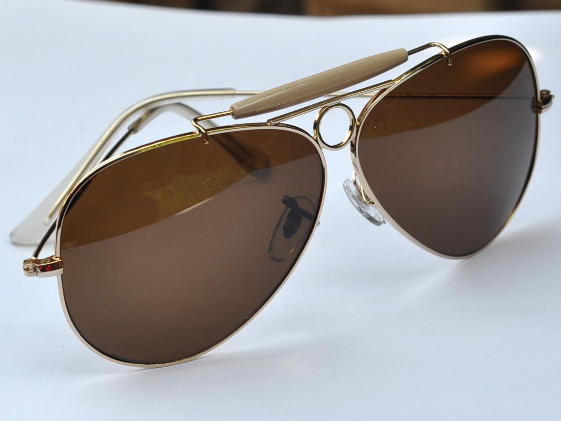 Big Gold Frame Sunglasses : Sunglasses fashion Aviator shooter Gold Frame Brown lens ...